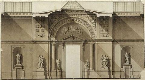 Coupe longitudinale de la Grande Galerie au niveau du pavillon Lesdiguières