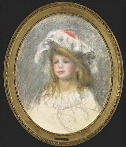 Portrait de fillette, en buste, portant une vaste charlotte