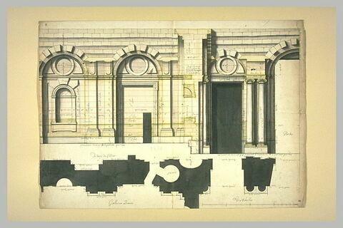 Projet architectural pour le palais du Louvre : deux élévations et trois plans de l'intérieur de la galerie basse au Louvre