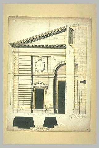 Projet architectural pour le palais du Louvre : élévation, profil et plan du portail de la façade septentrionale du Louvre