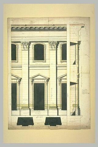 Projet architectural pour le palais du Louvre : élévation, plan et profil de la façade méridionale du Louvre au premier étage