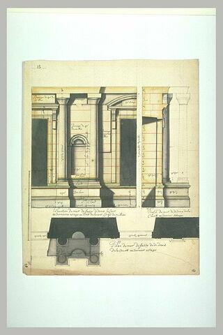 Projet architectural pour le palais du Louvre : élévation, plan et profil du mur de face dedans la cour au dernier étage au droit de l'avant-corps du milieu