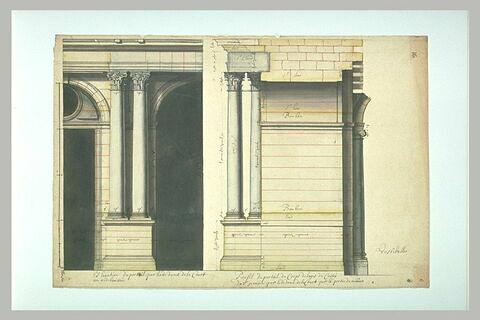 Projet architectural pour le palais du Louvre : élévation et profil du portail par le dedans de la cour au rez-de-chaussée