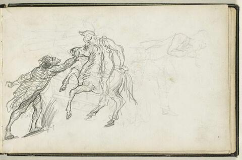 Scène de genre, avec un cavalier, et croquis de personnages