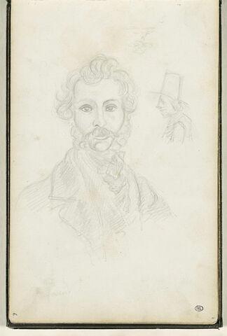 Portrait d'un homme, tête de face, et croquis d'une tête de profil