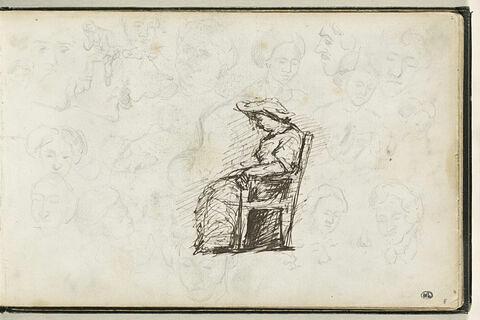 Etude d'une femme assise, de profil, et croquis de visages