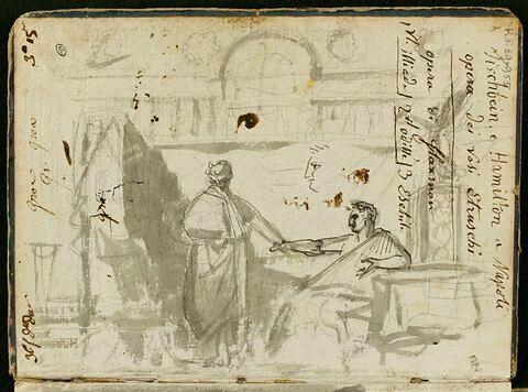 Étude pour une composition avec deux figures habillées à l'antique et reprise du profil de la figure de droite : Cinna, ou la clémence d'Auguste ?