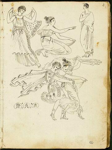 Cinq personnages à l'antique ; motifs décoratifs à palmettes