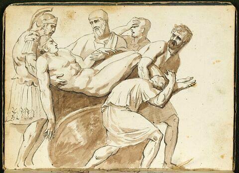 Personnages à l'antique, soutenant le corps d'un homme nu, mort
