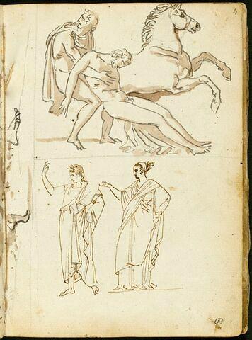 Personnage à l'antique transportant le corps mort d'un homme nu devant un cheval cabré ; deux figures à l'antique, drapées, tournées vers la gauche