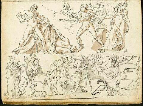 Deux compositions en frise avec des personnages à l'antique