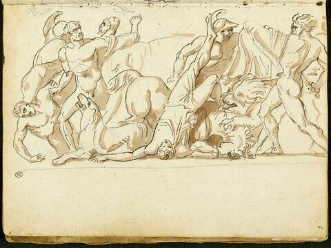 Composition en frise avec une scène de combat de personnages à l'antique