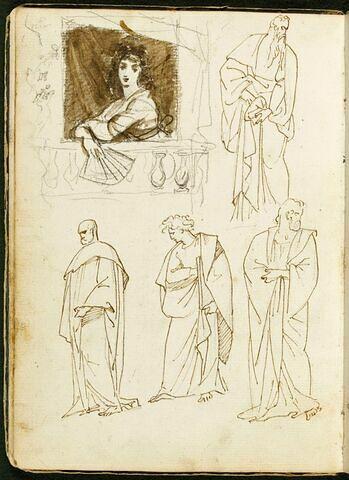 Femme au balcon, tenant un éventail ; quatre figures d'hommes drapés à l'antique dans différentes attitudes