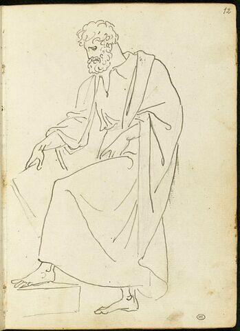 Figure d'homme barbu drapé à l'antique, de trois quarts vers la gauche, la jambe gauche en appui sur un socle, la main droite tenant une tablette