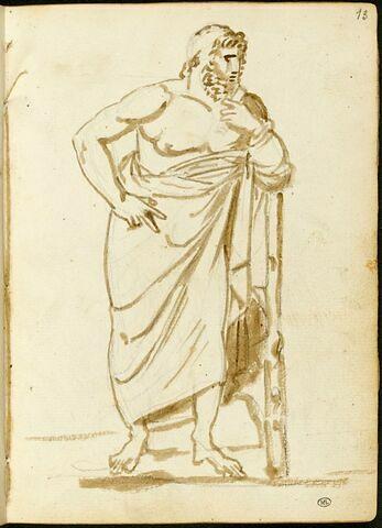 Homme drapé, debout, tourné vers la droite, le bras gauche appuyé sur un bâton
