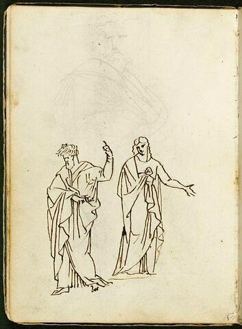 Trois figures d'hommes drapés à l'antique, deux en entier, une en buste