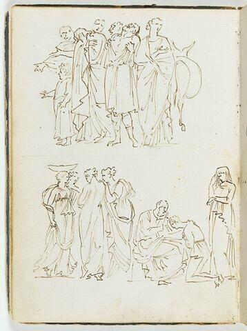 Les frères de Joseph déchirant leurs vêtements de désespoir ; quatre figures féminines et Isaac bénissant Jacob en présence de Rébecca