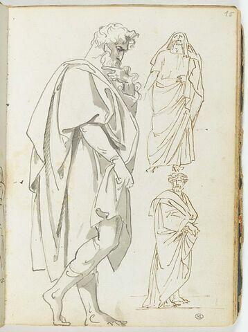 Trois figures d'hommes barbus drapés à l'antique, l'une de profil, l'autre de face, la troisième de trois quarts vers la droite
