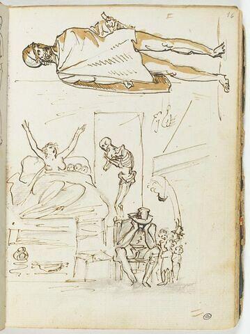 Allégorie de la Mort rendant visite à une pauvre famille ; soldat habillé d'une chlamyde et coiffé d'un casque : le 'Focione'
