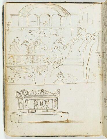 La Confirmation de la règle franciscaine ; sarcophage avec des acrotères