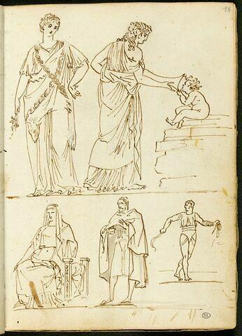 Feuille d'études avec des personnages à l'antique