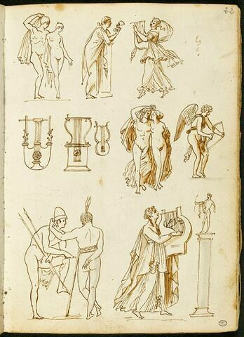 Copies d'après des pierres gravées et des camées antiques ; instruments de musique