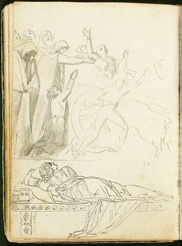 Saint Zénobe ressuscitant un enfant mort ; femme drapée à l'antique, de dos, allongée sur un triclinium