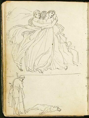 Trois figures féminines s'embrassant ; homme appuyé sur un bâton contemplant un chien mort