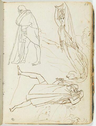 Feuilles d'études avec trois figures à l'antique ; plusieurs têtes esquissées