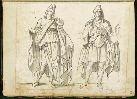 Feuille d'étude avec deux figures drapées, coiffées d'un bonnet, de face