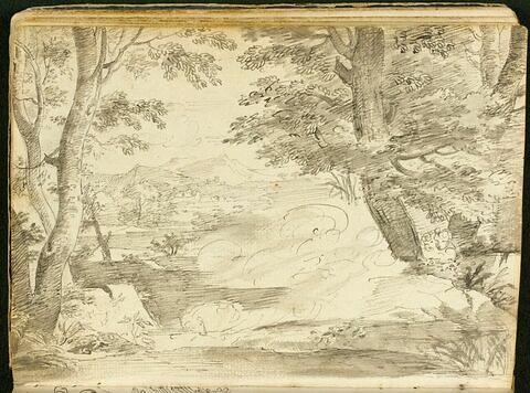 Paysage avec au premier plan esquisse d'un chien lové auprès de deux figures allongées sous un arbre derrière lequel se cachent deux autres personnages