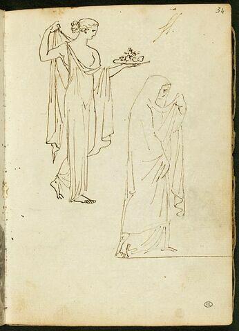Feuille d'études avec deux figures féminines drapées à l'antique, de profil vers la gauche