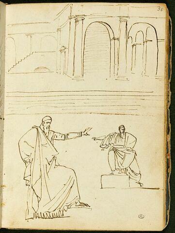 Architecture de goût classique avec des arcades ; deux figures masculines drapées à l'antique, l'une debout, de profil vers la droite, l'autre assise, de face