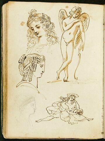 Trois têtes coiffées à l'antique ; Éros funéraire ; couple enlacé