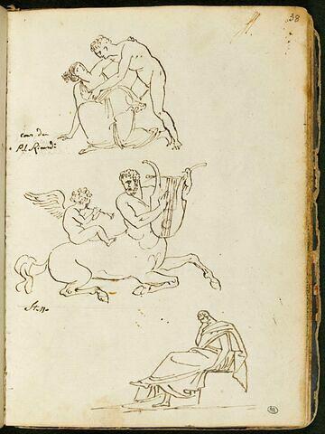 Homme nu soutenant une femme drapée à l'antique ; centaure avec un cupidon assis sur son dos jouant des instruments de musique ; homme drapé à l'antique assis, de profil vers la gauche, dans une attitude méditative