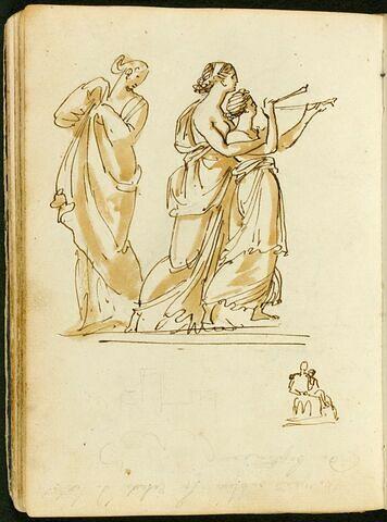 Trois femmes drapées à l'antique, deux enlacées, dont une jouant de la flûte double ; esquisse de deux figures et d'une architecture