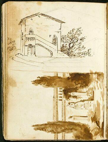 Villa avec des éléments de décor de goût gothique ; jardin avec une statue antique entre deux piliers hermaïques encadrés par deux pins (retourné)
