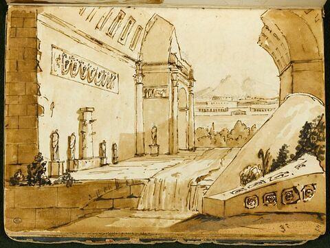 Architecture romaine en ruine traversée par un ruisseau devant un paysage montagneux avec des constructions classiques