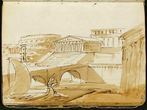 Vue idéale avec des architectures antiques et une felouque