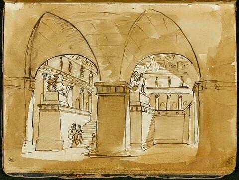 Vue de l'intérieur d'une architecture avec des colonnades et des statues monumentales
