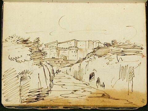 Paysage avec une ville fortifiée à l'arrière- plan : vue de Genazzano ?