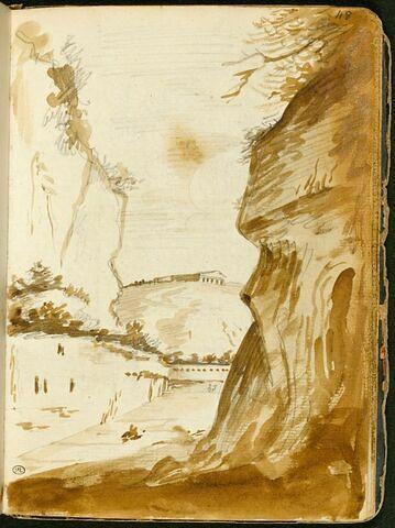 Paysage avec à l'arrière-plan un temple antique sur une colline
