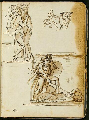 Feuille d'études avec deux groupes de personnages à l'antique et esquisse d'un homme derrière des bœufs tirant une charrue