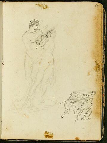 Couple nu, debout, enlacé ; deux figures se disputant