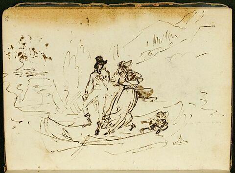 Homme aidant une femme à sortir d'une barque où est esquissé un enfant assis tirant un petit modèle de bateau à voile