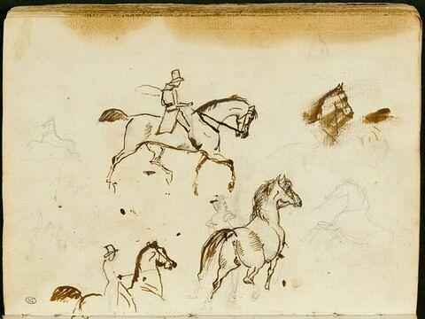 Feuille d'études avec des esquisses de chevaux, deux cavaliers et un cheval avec palefrenier