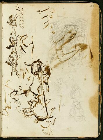 Feuille d'études avec des cavaliers et un jockey au galop ; scène de dressage avec des chevaux récalcitrants ; esquisses pour une femme à la lyre :  Sapho ? ; croquis pour une femme voilée, en buste, de trois quarts vers la gauche