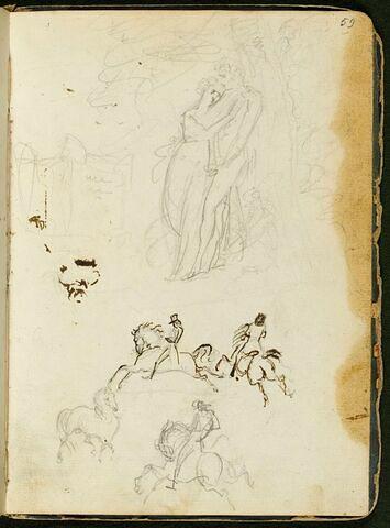 Couple enlacé appuyé à un arbre près d'un sarcophage ancien : étude pour 'Les Bergers d'Arcadie'; esquisses de cheval et de trois chevaliers au galop