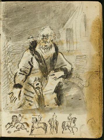 Homme assis, vu de face : étude pour le « Portrait de Stanislas Malackowsky » ; esquisse d'un cheval et de quatre cavaliers