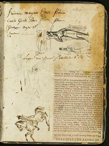 Plusieurs croquis de figures ; deux esquisses pour « L'Écusson de la République » ; cavalier ; annotations